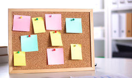 Cork board with notes, clipping path included Royalty Free Stock Photo