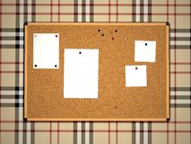 Cork board with notes Royalty Free Stock Photos