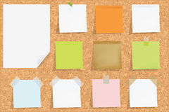 Cork Board With Notes. Vector Royalty Free Stock Images