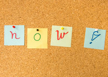 Cork board now exclamation mark Stock Image