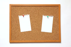 Cork board with paper note on white background Royalty Free Stock Images