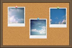 Cork board with photo cards Stock Images