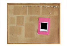 Cork board with photo frame Royalty Free Stock Photos