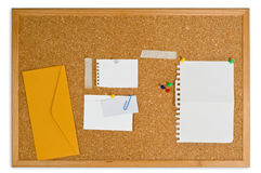Cork board with pinned notes Stock Image