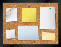 Cork Board with Pinned Paper Illustration Royalty Free Stock Photography