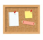 Cork board with pinned paper notepad sheets realistic vector illustration.  Royalty Free Stock Photography