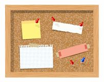 Cork board with pinned paper notepad sheets realistic vector illustration. Vector illustration board for notes. A noteboard made of cork with some pins and Stock Images