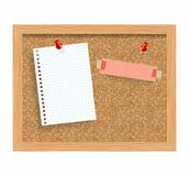 Cork board with pinned paper notepad sheets realistic vector illustration. Royalty Free Stock Image