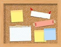 Cork board with pinned paper notepad sheets realistic vector illustration. vector illustration board for notes.  Stock Photography