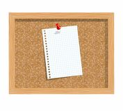 Cork board with pinned paper notepad sheets Stock Photography