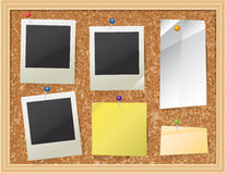 Cork Board with Pinned Paper and Photos Royalty Free Stock Images