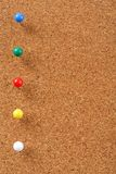 Cork board with pins Stock Photo