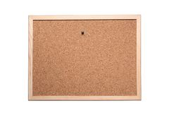 Cork board with pins isolated on white background with clipping path included and copy space for your text stock image