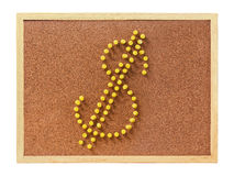 Cork board with plastic pins Royalty Free Stock Images