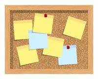 Cork board  with sheets of paper for notes.  background. Stock Photos