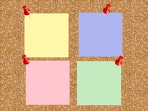 cork board with sheets of paper for notes vector background stock photo