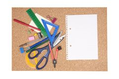 Cork board with stationary Royalty Free Stock Photography