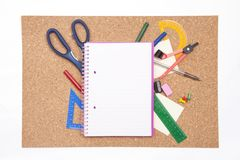Cork board with stationary Royalty Free Stock Photo