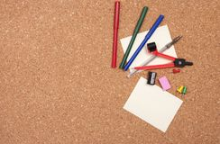 Cork board with stationary Stock Photos