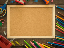 Cork board and stationery Stock Images