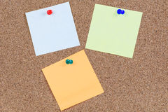 Cork board and sticky notes Stock Images