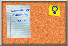 Cork board with text International Women`s Day 8th March stock photo