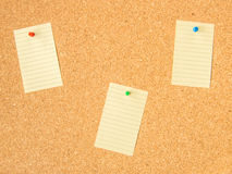 Cork board three pinned note. Files Royalty Free Stock Image