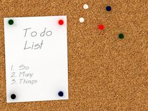 Cork board with to do list template. So many things Royalty Free Stock Image