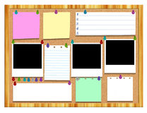 Cork board with various notes and Picture frame Royalty Free Stock Photos