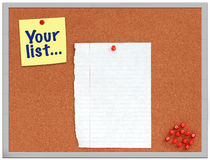 Cork board with yellow note and white paper Royalty Free Stock Photo