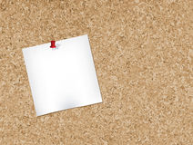 Cork bulletin board. Note pad pinned to a cork bulletin board.Vector illustration Royalty Free Stock Image