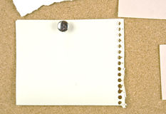 Cork bulletin board with blank note. Stock Images