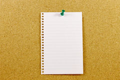 Cork bulletin board with empty sheet Royalty Free Stock Images