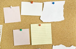 Cork bulletin board with notes. Stock Photography