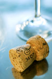 Cork of champagne. Cork of luxury champagne on metal background Royalty Free Stock Photos