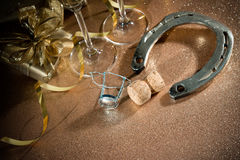 Cork from champagne bottle with a horseshoe Stock Image