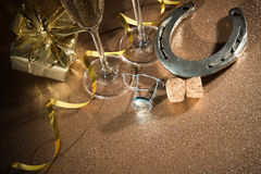 Cork from champagne bottle with a horseshoe stock photo