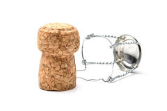 Cork from champagne bottle. Isolated on the white background Royalty Free Stock Images