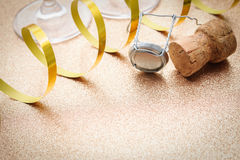 Cork from champagne bottle with streamers Royalty Free Stock Images