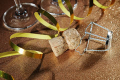 Cork from champagne bottle and two glasses Royalty Free Stock Photos