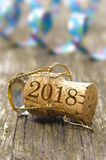 Cork of champagne at new years party 2018. Cork of champagne at new year party 2018 Stock Photos