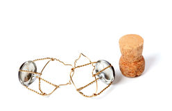 Cork from champagne wine and muselets Stock Photos