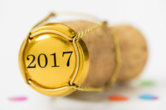 Cork of champagne with year date 2017 Royalty Free Stock Photos