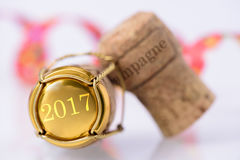 Cork of champagne with year date 2017 Royalty Free Stock Image
