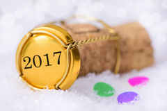 Cork of champagne with year date 2017 Stock Photo