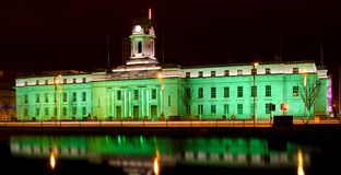 Cork City Hall - St. Patrick's Day. Cork City Hall photographed on St. Patrick's Day when the whole building was lit up in green to mark the occasion Stock Photography