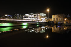 Cork city night. View of cork city bridge and buildings at night Royalty Free Stock Images