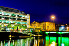 Cork City by night, Ireland. Illuminated buildings in Cork city, Ireland Royalty Free Stock Image
