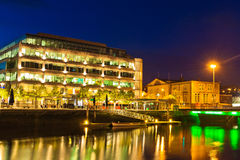 Cork City by night, Ireland. Illuminated buildings in Cork city, Ireland Stock Image