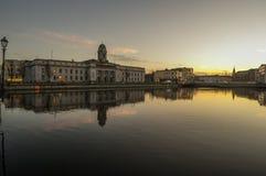 Cork city river sunset Stock Photo